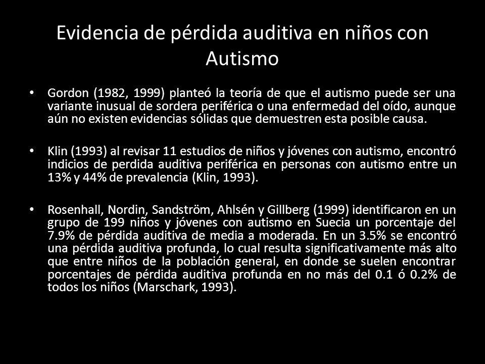 Evidencia de pérdida auditiva en niños con Autismo