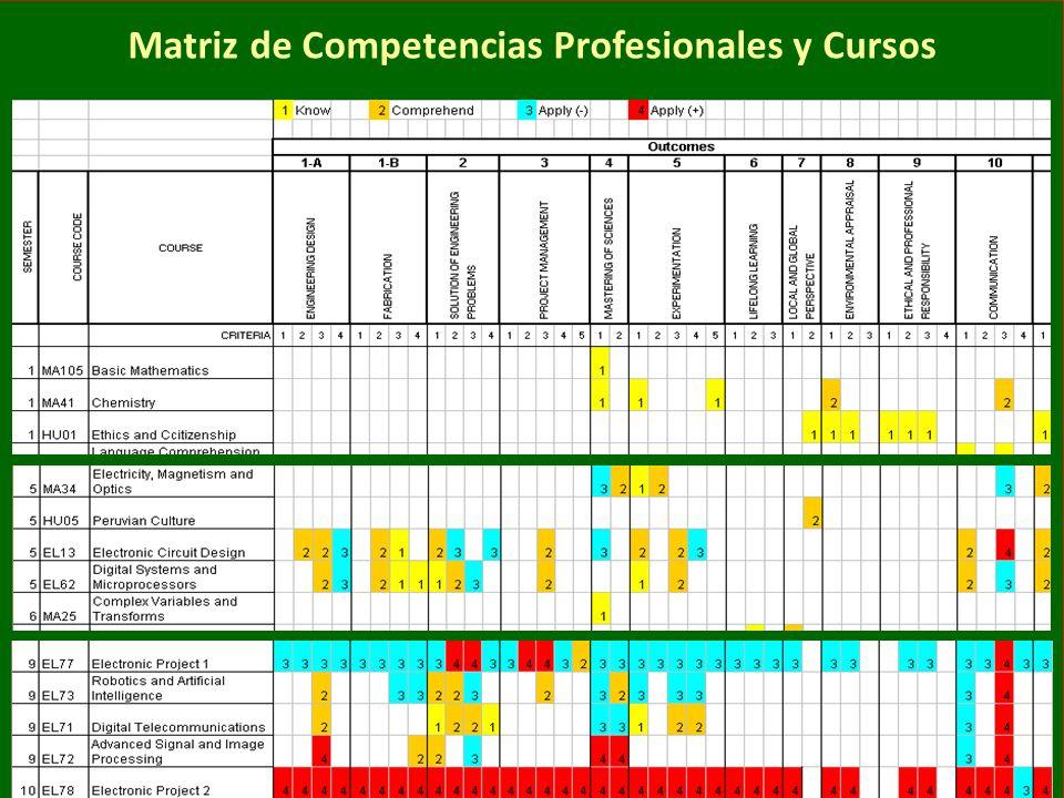 Matriz de Competencias Profesionales y Cursos
