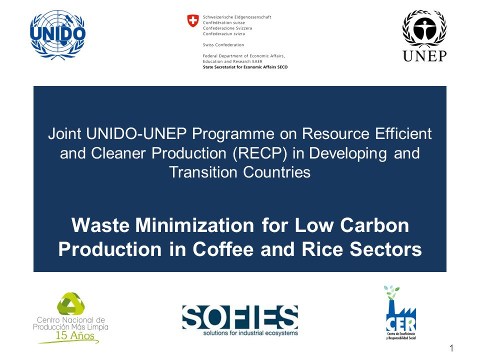 Joint UNIDO-UNEP Programme on Resource Efficient and Cleaner Production (RECP) in Developing and Transition Countries