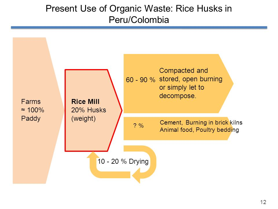 Present Use of Organic Waste: Rice Husks in Peru/Colombia