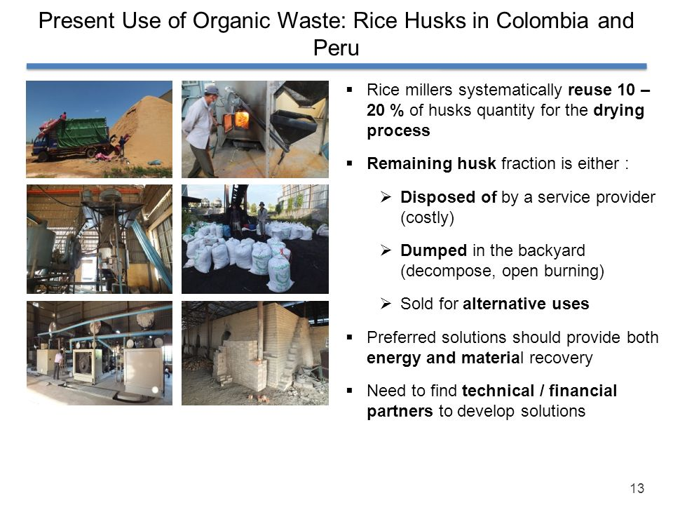 Present Use of Organic Waste: Rice Husks in Colombia and Peru