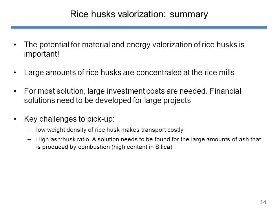 Rice husks valorization: summary