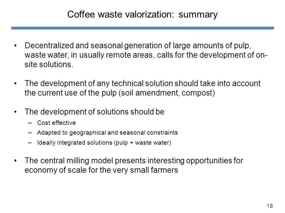 Coffee waste valorization: summary
