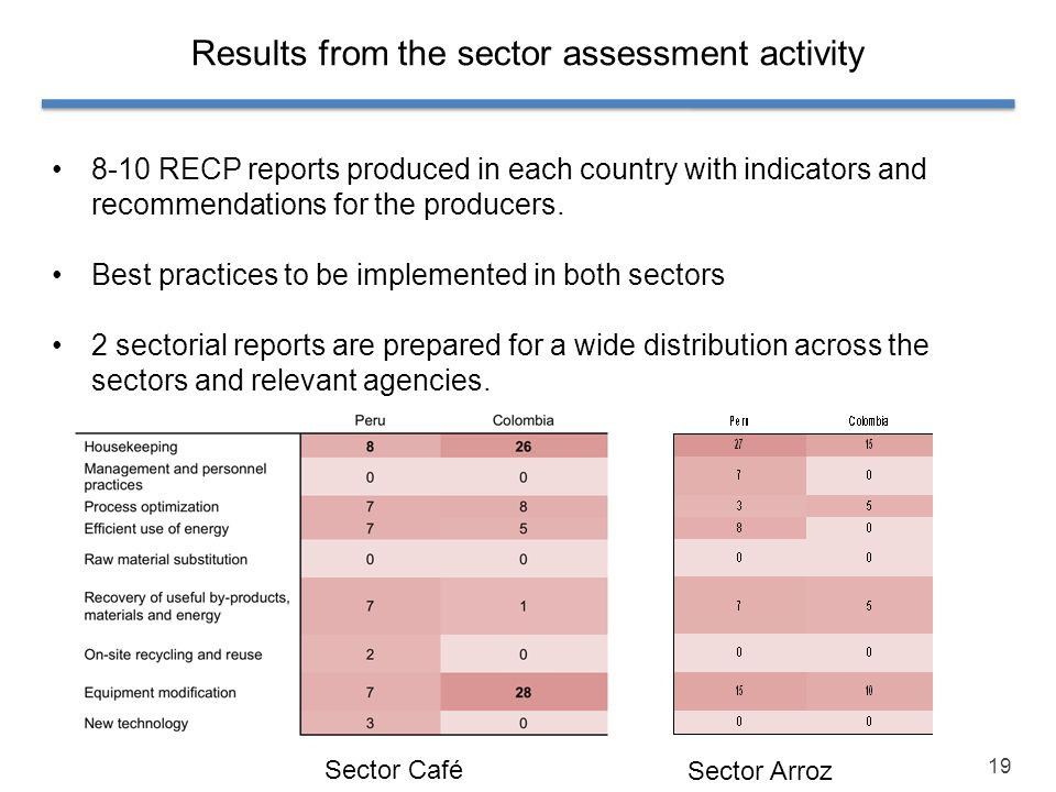 Results from the sector assessment activity