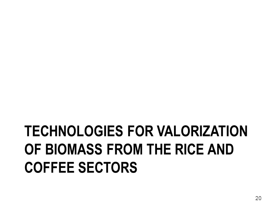 Technologies for valorization of biomass from the rice and coffee sectors