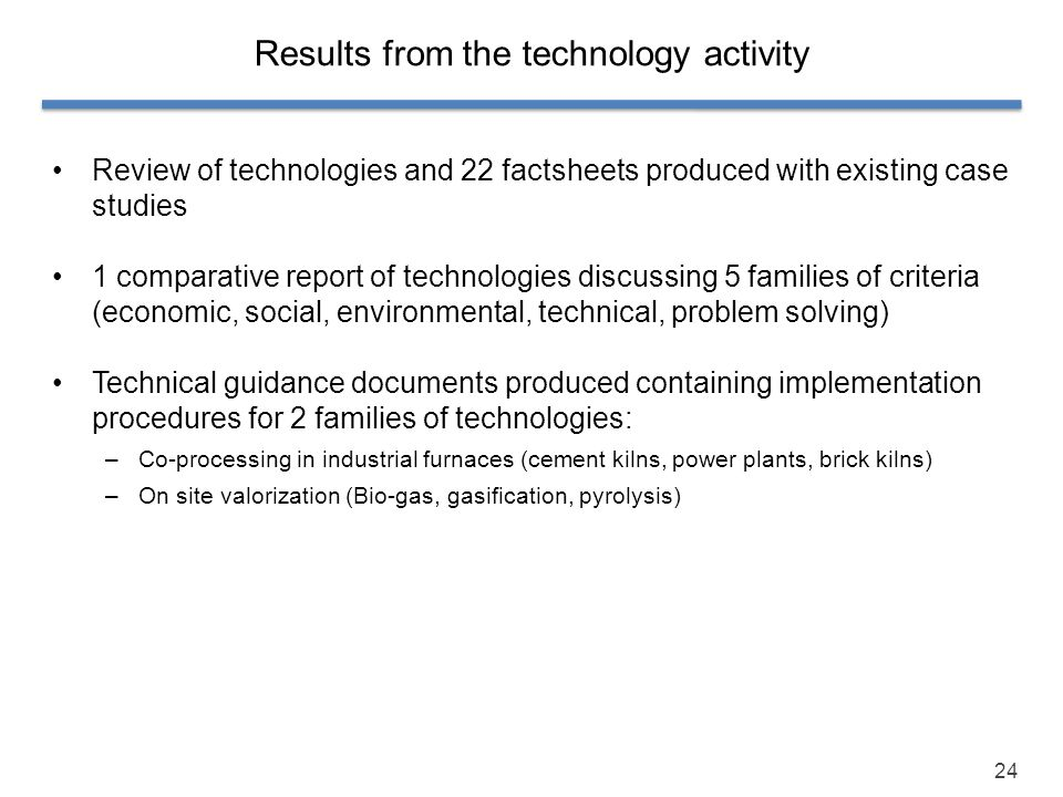 Results from the technology activity