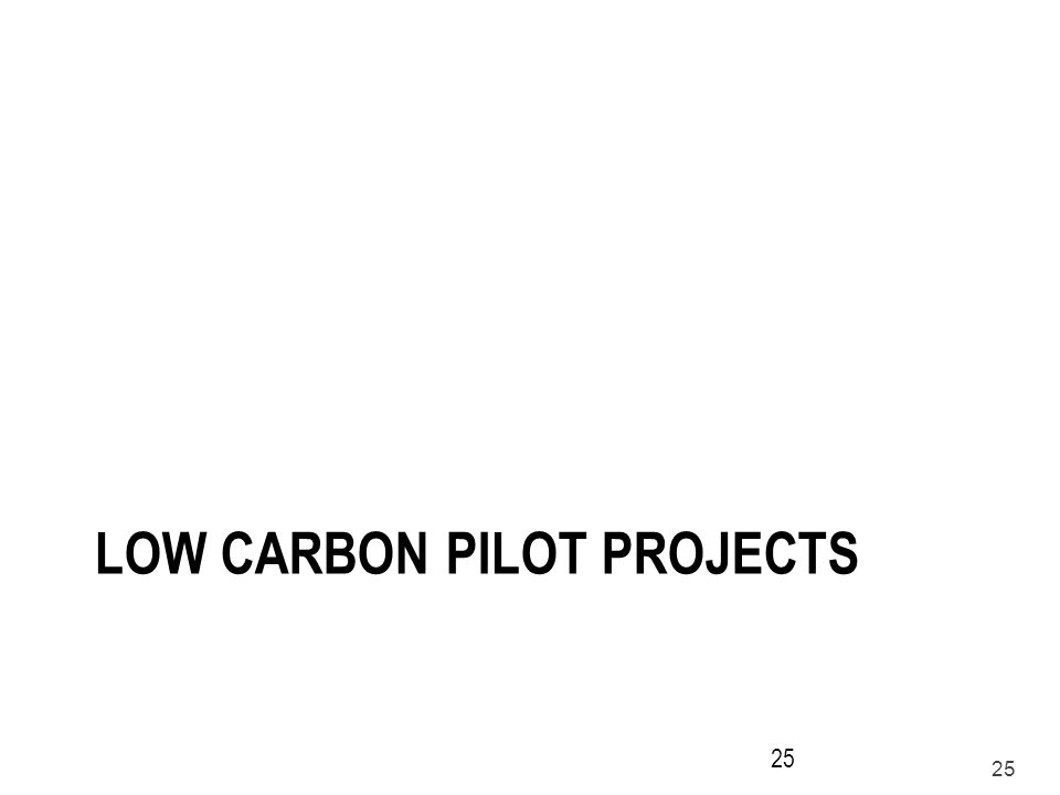 Low carbon pilot projects