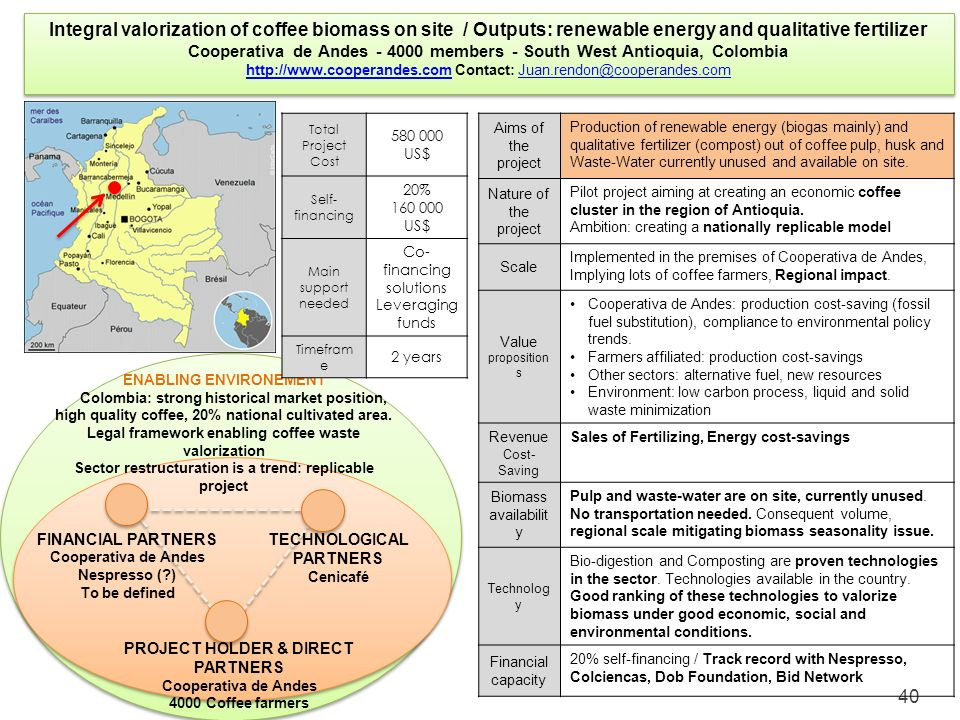 Integral valorization of coffee biomass on site / Outputs: renewable energy and qualitative fertilizer