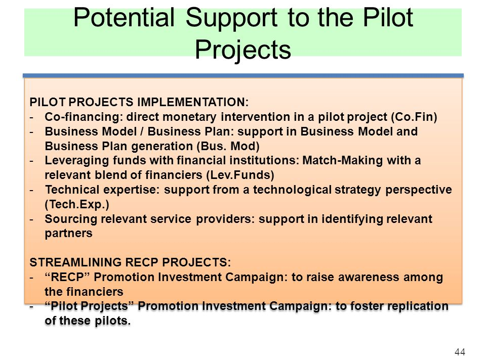 Potential Support to the Pilot Projects