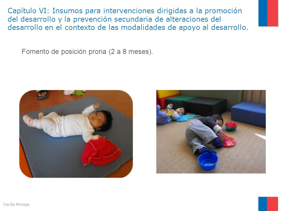 Fomento de posición prona (2 a 8 meses).
