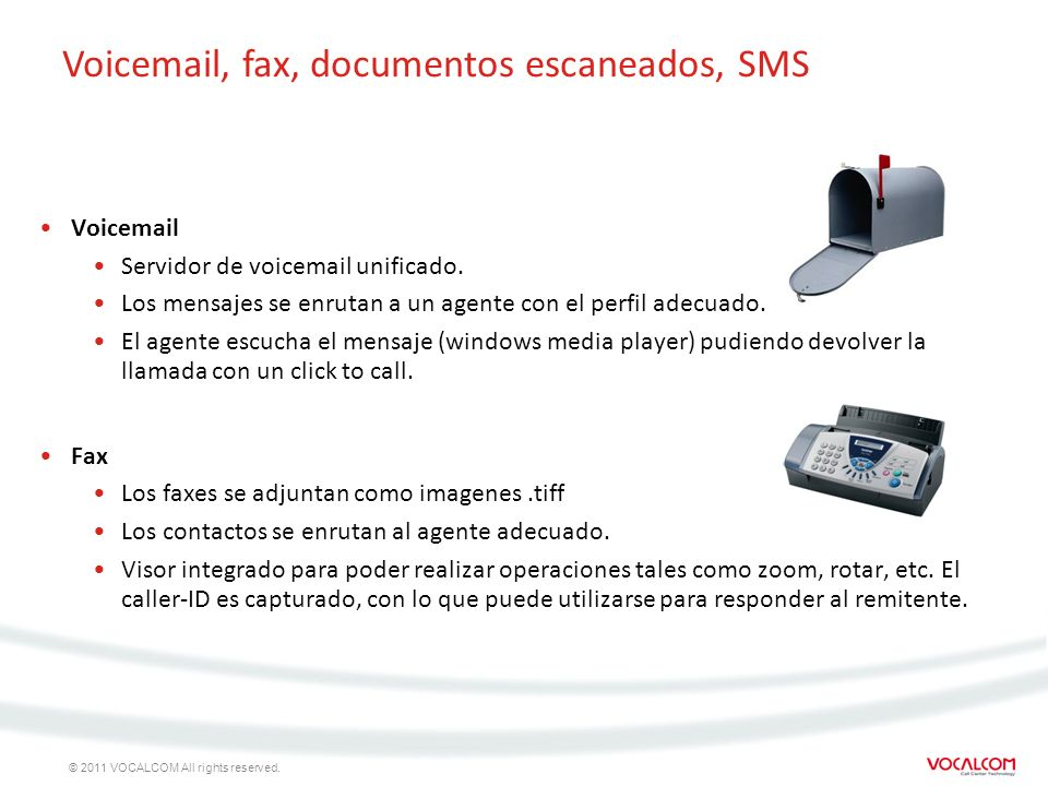 Voicemail, fax, documentos escaneados, SMS