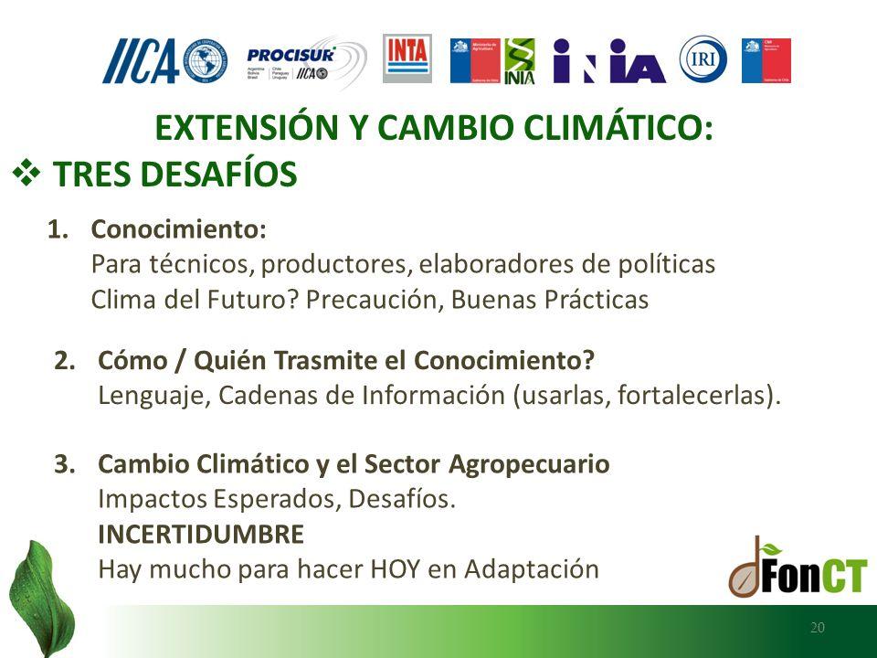 EXTENSIÓN Y CAMBIO CLIMÁTICO: