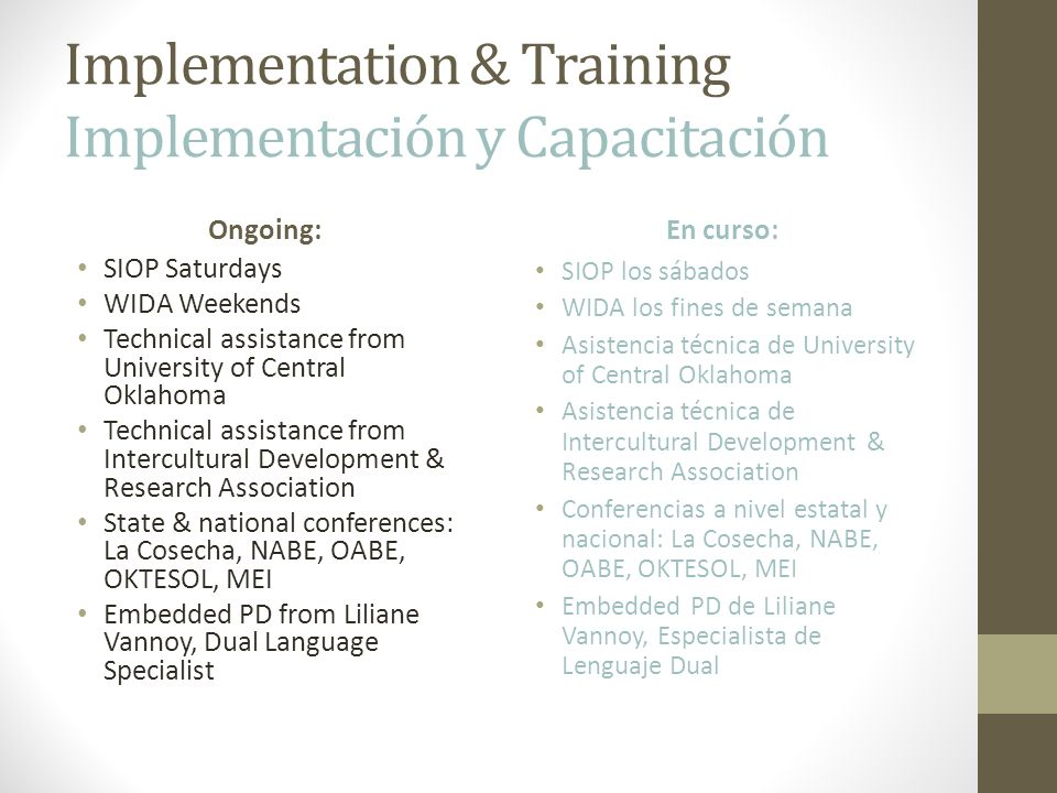Implementation & Training Implementación y Capacitación