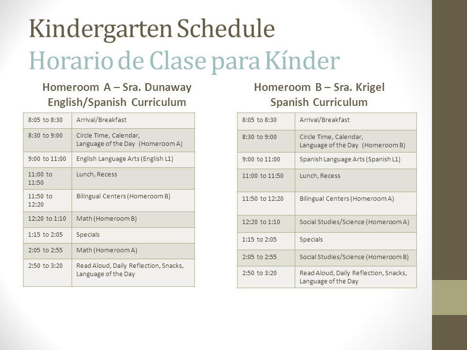 Kindergarten Schedule Horario de Clase para Kínder