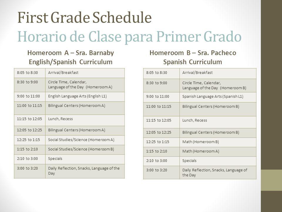 First Grade Schedule Horario de Clase para Primer Grado