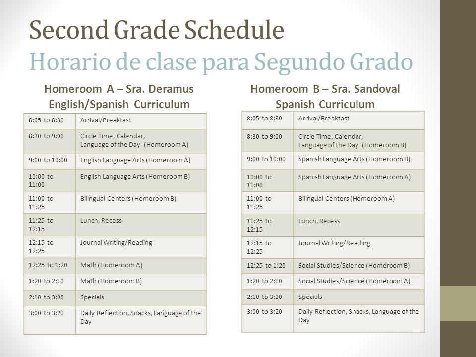 Second Grade Schedule Horario de clase para Segundo Grado