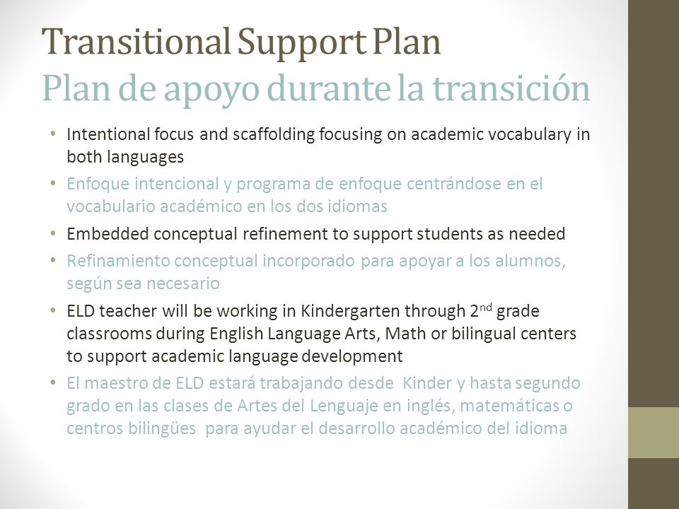 Transitional Support Plan Plan de apoyo durante la transición
