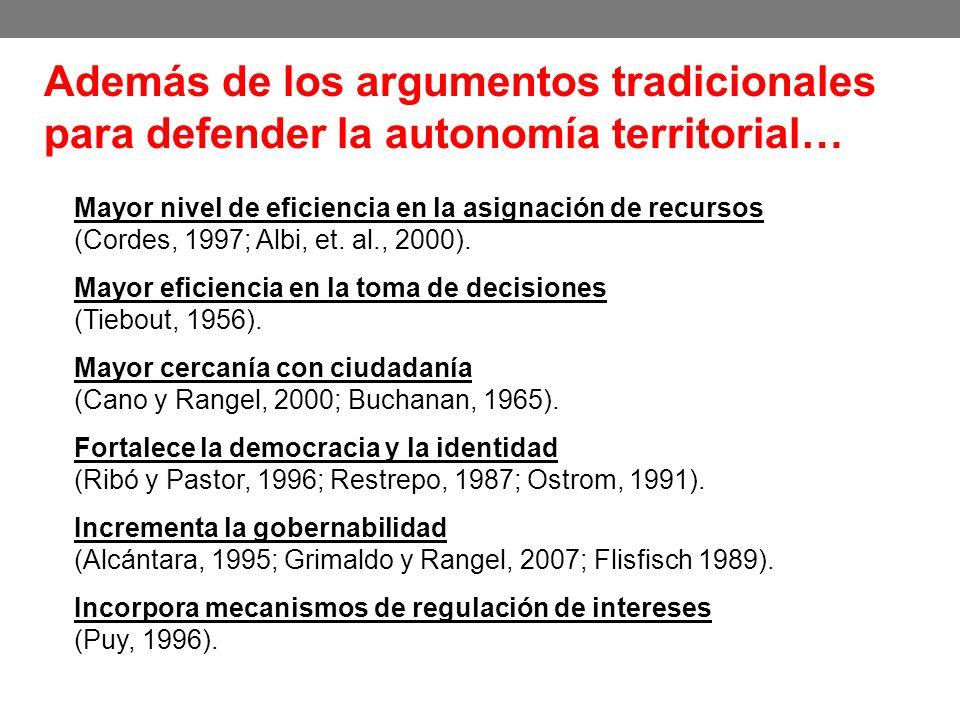 Además de los argumentos tradicionales para defender la autonomía territorial…