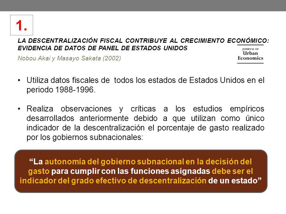 1. LA DESCENTRALIZACIÓN FISCAL CONTRIBUYE AL CRECIMIENTO ECONÓMICO: EVIDENCIA DE DATOS DE PANEL DE ESTADOS UNIDOS.