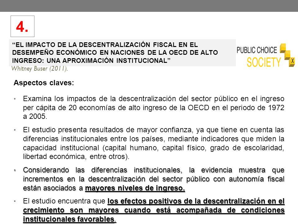 4. EL IMPACTO DE LA DESCENTRALIZACIÓN FISCAL EN EL DESEMPEÑO ECONÓMICO EN NACIONES DE LA OECD DE ALTO INGRESO: UNA APROXIMACIÓN INSTITUCIONAL