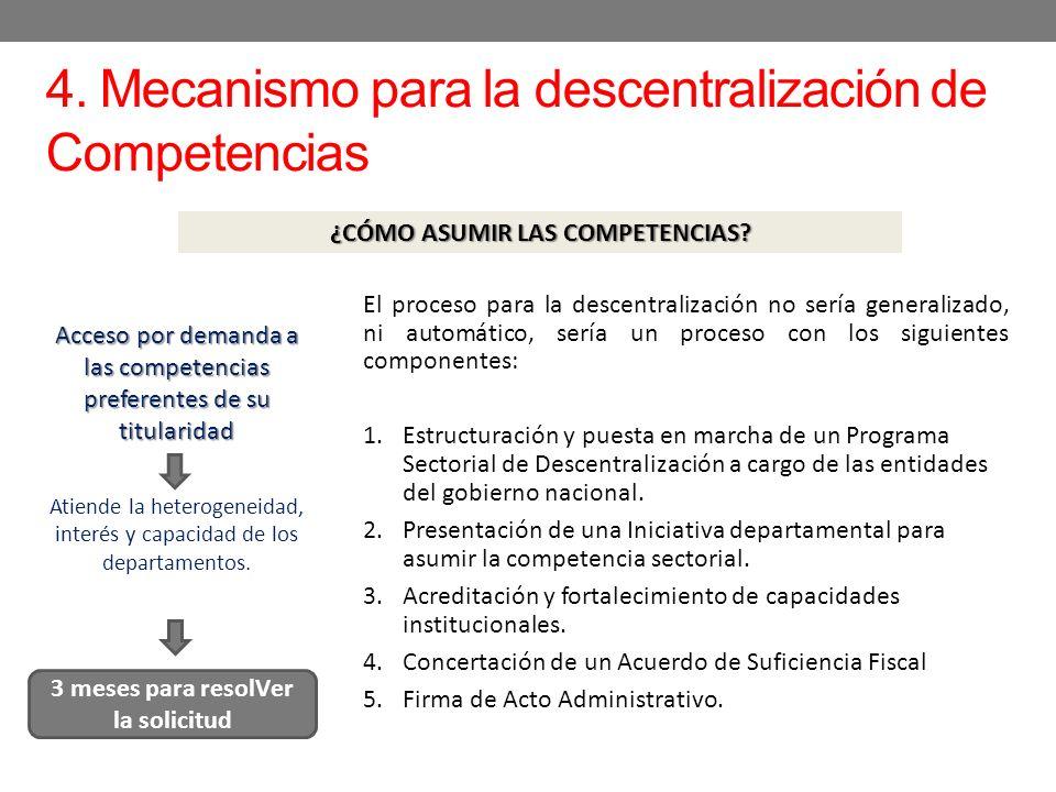 4. Mecanismo para la descentralización de Competencias