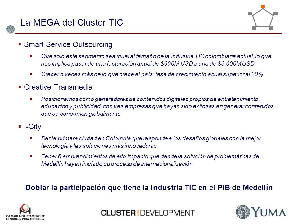 La MEGA del Cluster TIC Smart Service Outsourcing Creative Transmedia