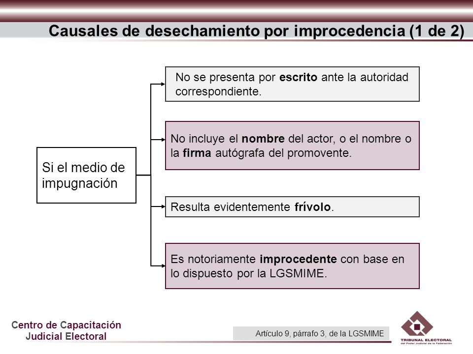 Causales de desechamiento por improcedencia (1 de 2)