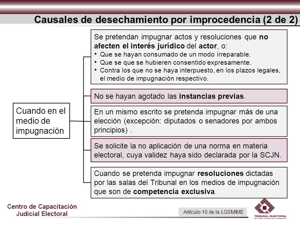 Causales de desechamiento por improcedencia (2 de 2)