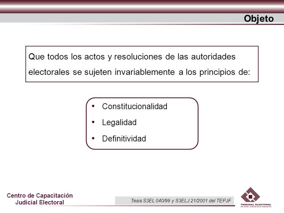 Objeto Que todos los actos y resoluciones de las autoridades electorales se sujeten invariablemente a los principios de: