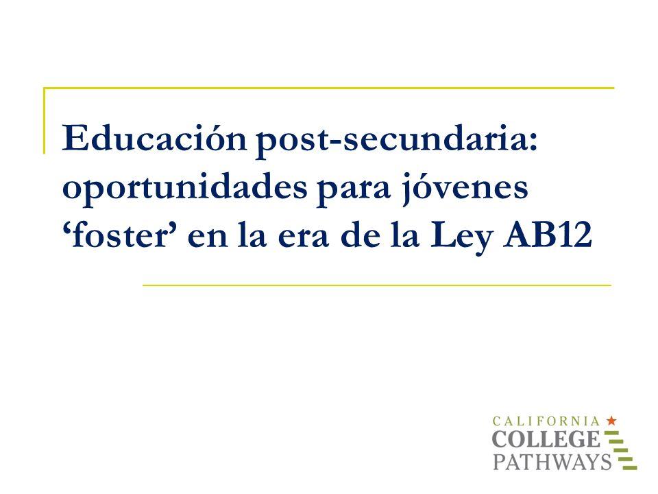 Educación post-secundaria: oportunidades para jóvenes 'foster' en la era de la Ley AB12