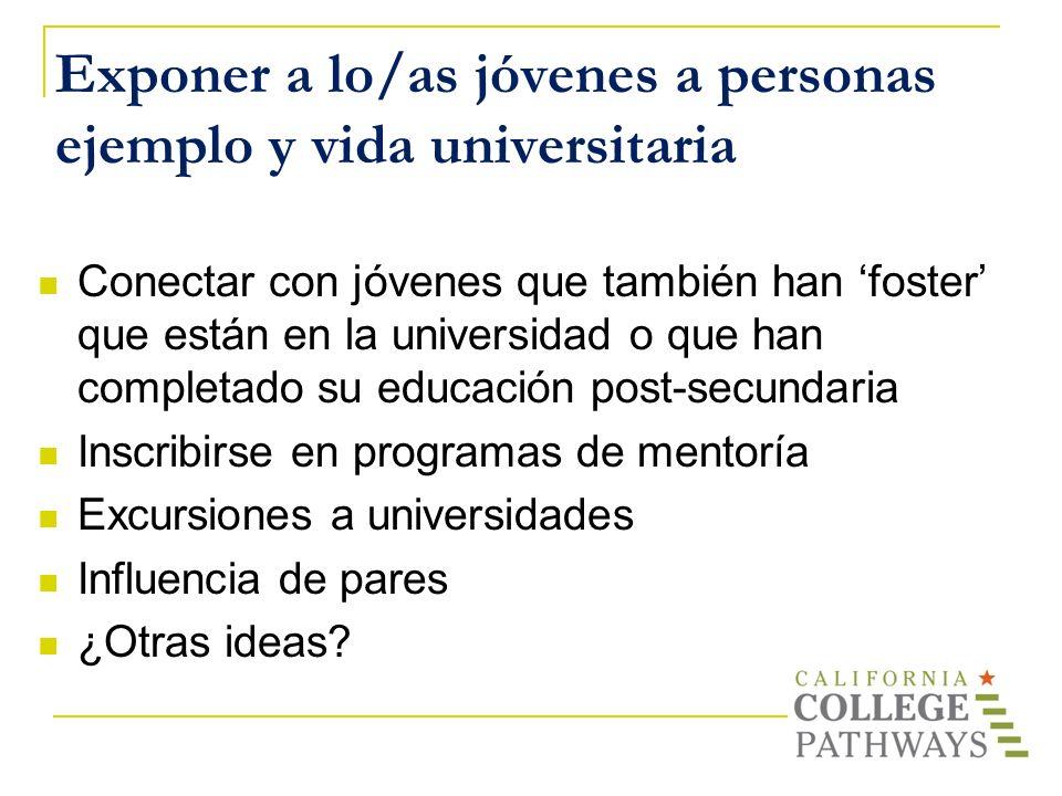 Exponer a lo/as jóvenes a personas ejemplo y vida universitaria
