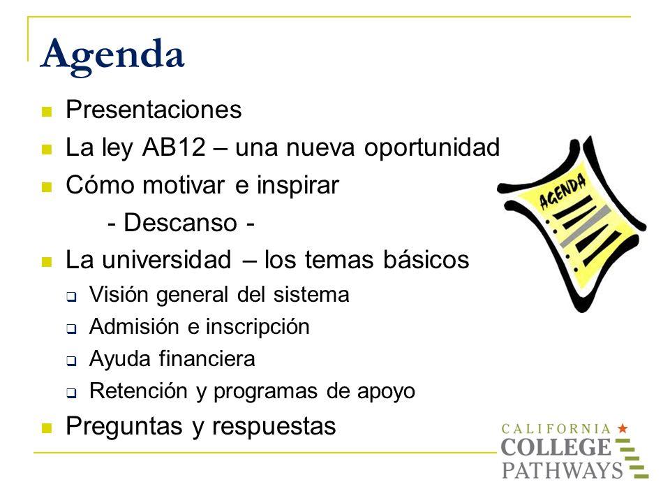 Agenda Presentaciones La ley AB12 – una nueva oportunidad