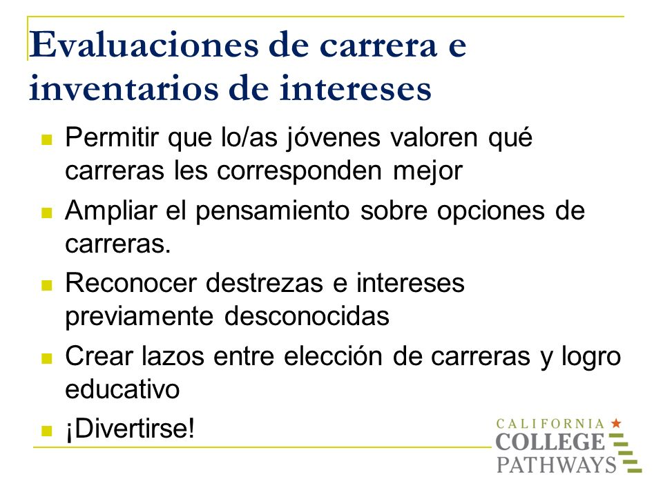Evaluaciones de carrera e inventarios de intereses