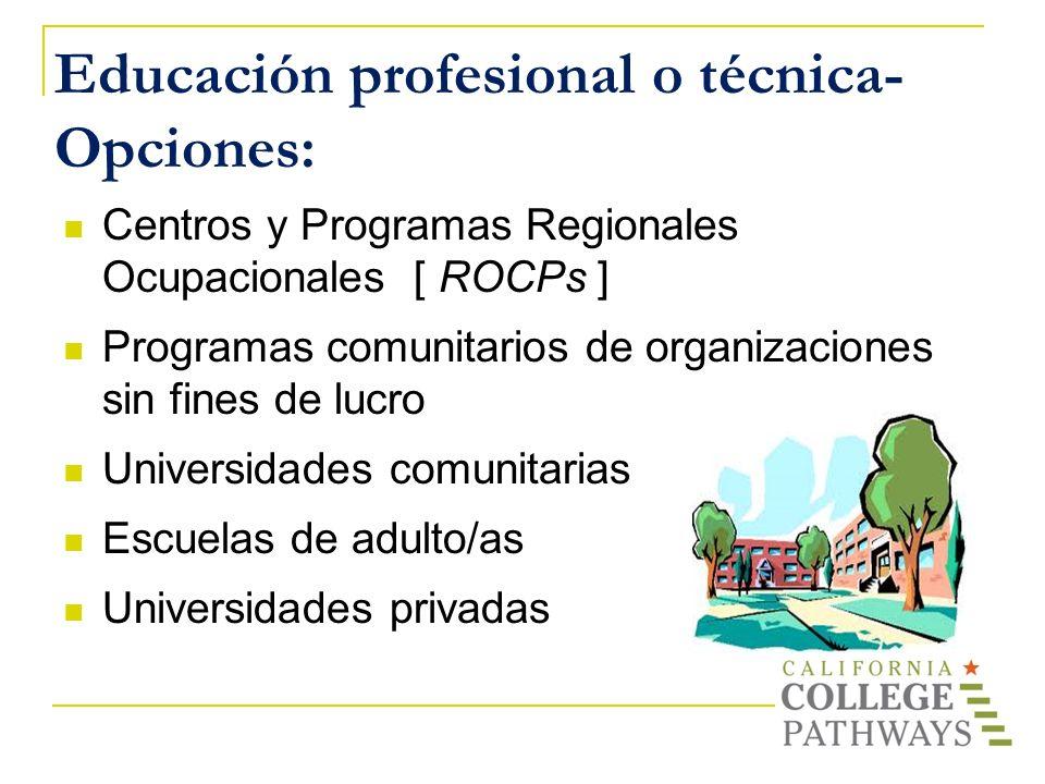 Educación profesional o técnica- Opciones: