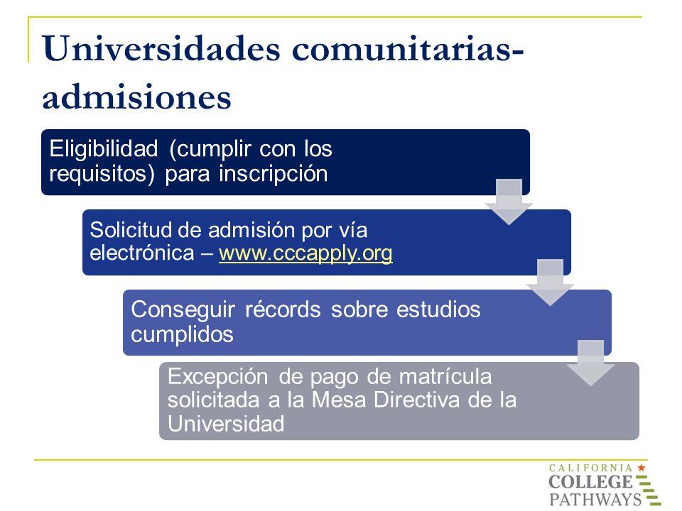 Universidades comunitarias- admisiones