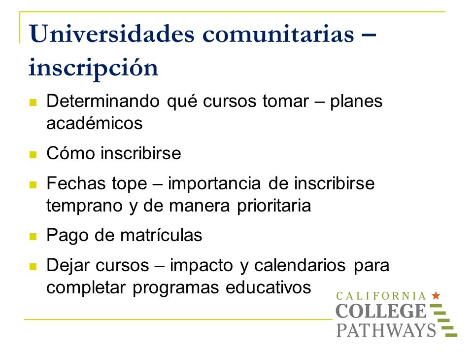 Universidades comunitarias – inscripción