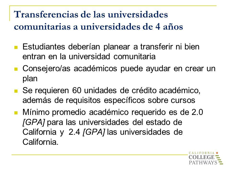 Transferencias de las universidades comunitarias a universidades de 4 años