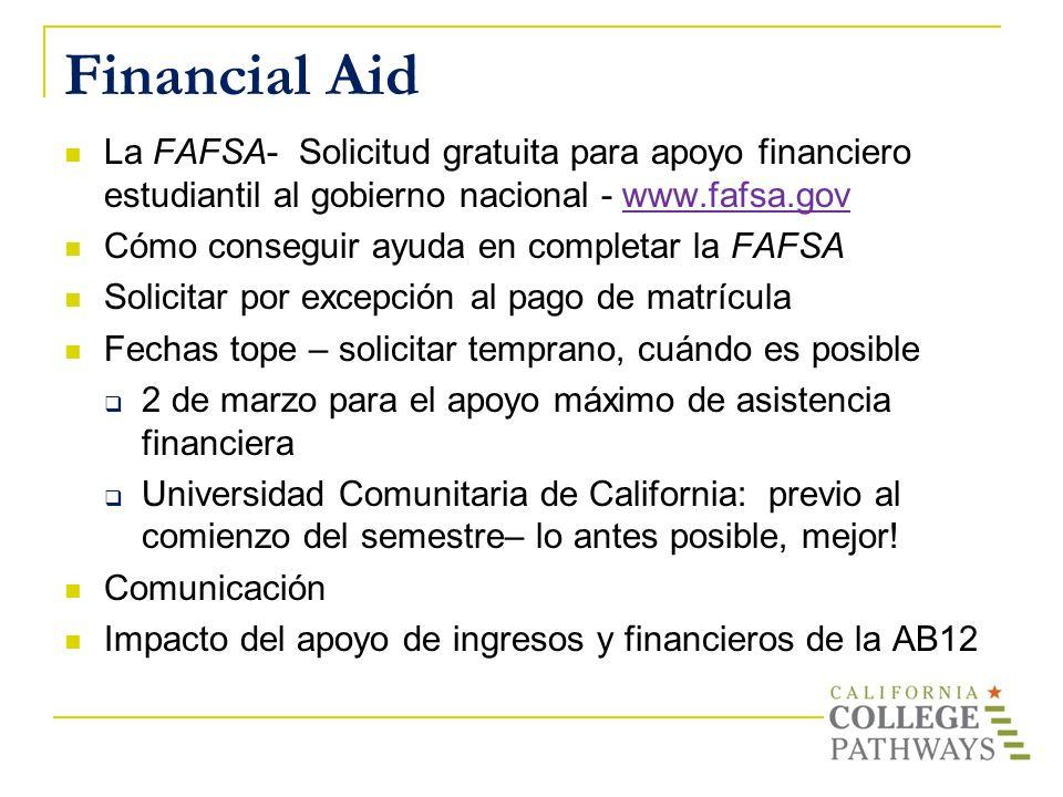 Financial Aid La FAFSA- Solicitud gratuita para apoyo financiero estudiantil al gobierno nacional - www.fafsa.gov.