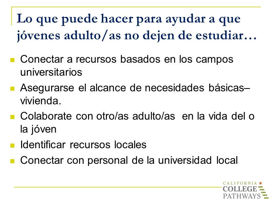 Lo que puede hacer para ayudar a que jóvenes adulto/as no dejen de estudiar…