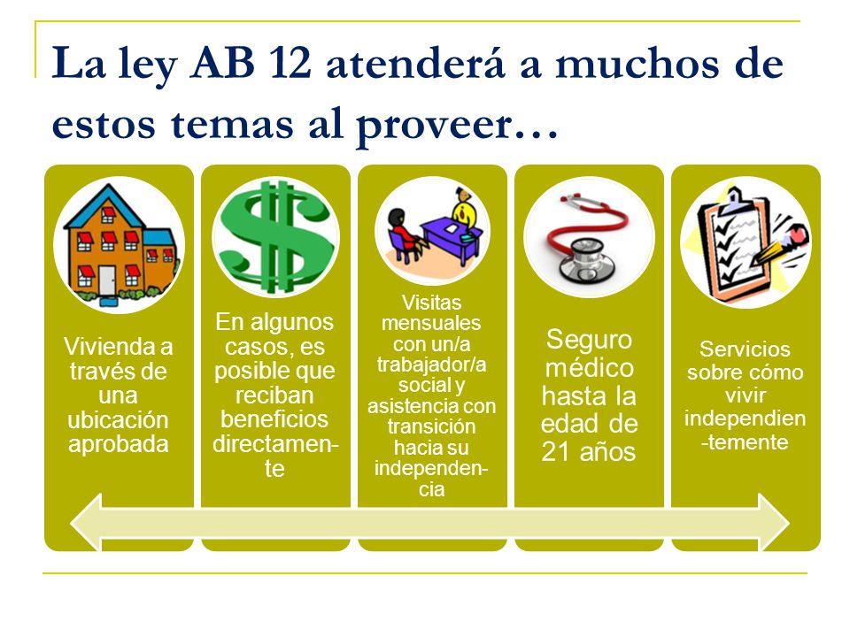 La ley AB 12 atenderá a muchos de estos temas al proveer…