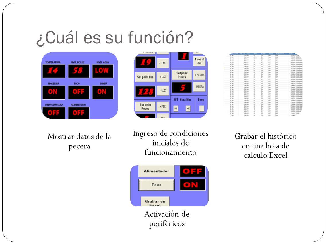 ¿Cuál es su función Mostrar datos de la pecera. Ingreso de condiciones iniciales de funcionamiento.