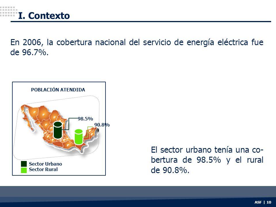 I. Contexto En 2006, la cobertura nacional del servicio de energía eléctrica fue de 96.7%. POBLACIÓN ATENDIDA.
