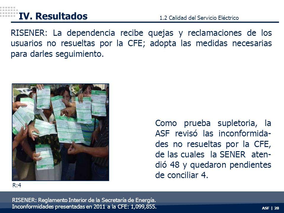 IV. Resultados 1.2 Calidad del Servicio Eléctrico.