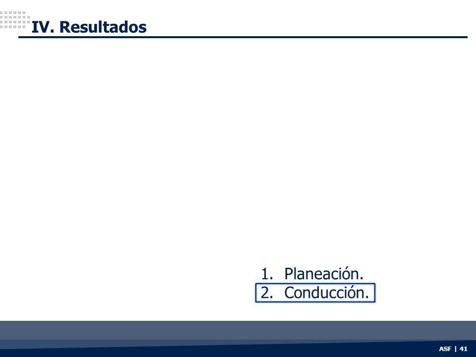 IV. Resultados Planeación. Conducción. ASF | 41
