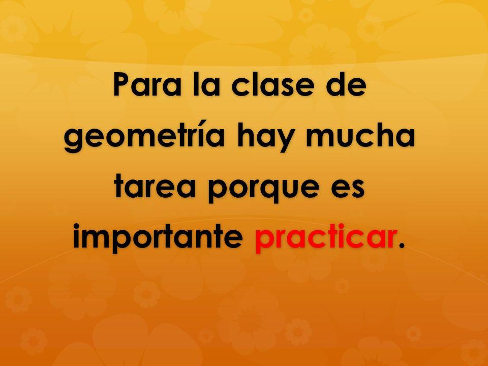 Para la clase de geometría hay mucha tarea porque es importante practicar.