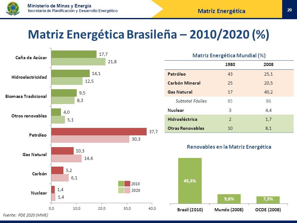 Matriz Energética Brasileña – 2010/2020 (%)