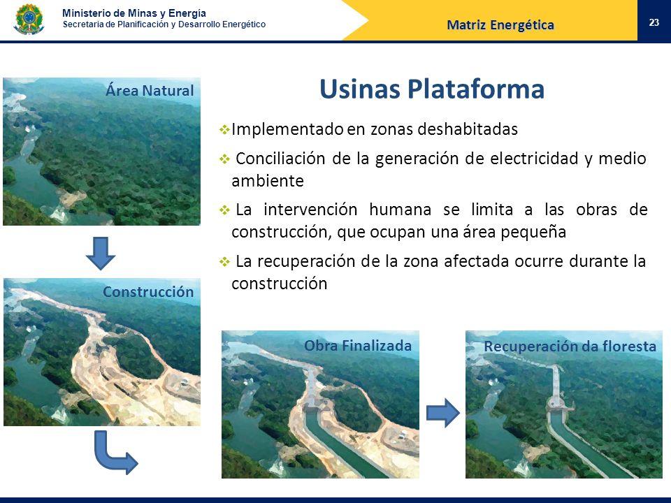 Usinas Plataforma Implementado en zonas deshabitadas