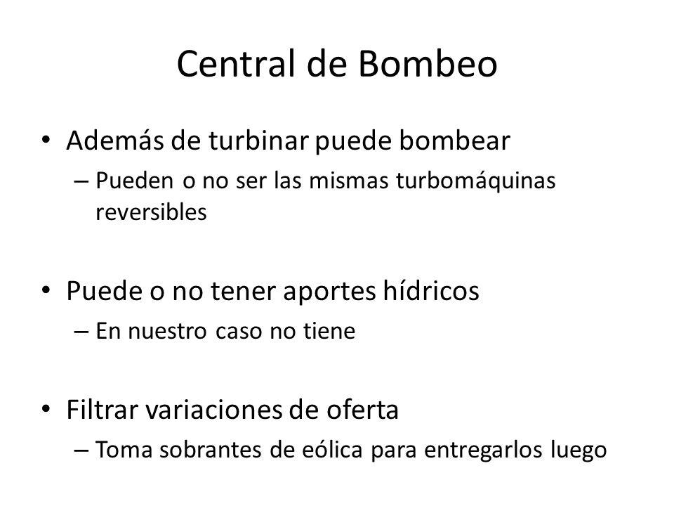 Central de Bombeo Además de turbinar puede bombear