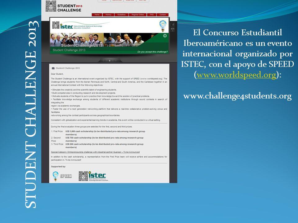 El Concurso Estudiantil Iberoaméricano es un evento internacional organizado por ISTEC, con el apoyo de SPEED (www.worldspeed.org):