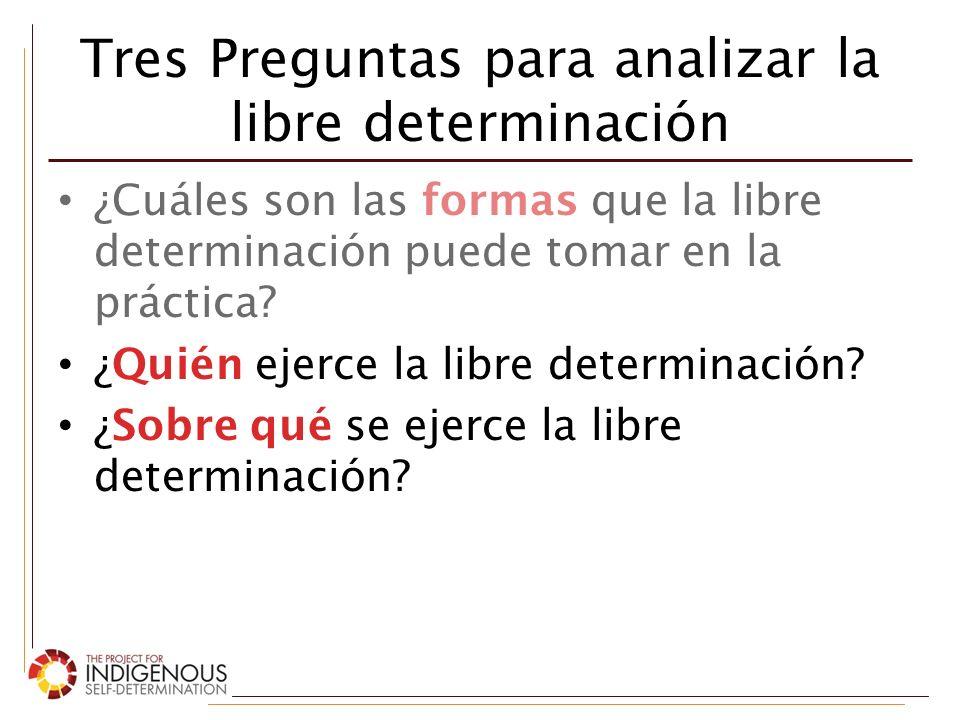 Tres Preguntas para analizar la libre determinación